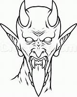 Demon Tattoo Satan Drawing Draw Tattoos Devil Stencils Outline Outlines Face Stencil Pencil Drawings Scary Step Designs Easy Sketches Coloring sketch template