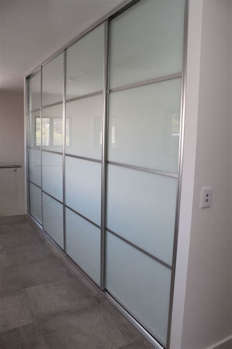 Cupboard Glass Doors by Linen Cupboard Hallway Sliding Doorswhite Glass 4 Panel