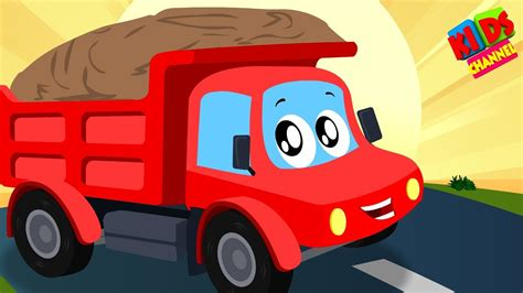 kids channel  red car dump truck  working