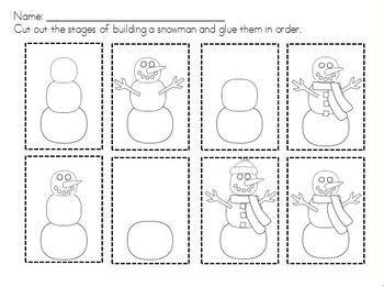 snowman sequencing building  snowman   mini mitten