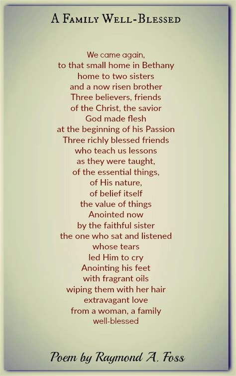 family  blessed raymond  foss family poems