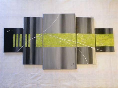 quintiptyque vert anis et gris photo de le monde acrylique un monde entoil 233