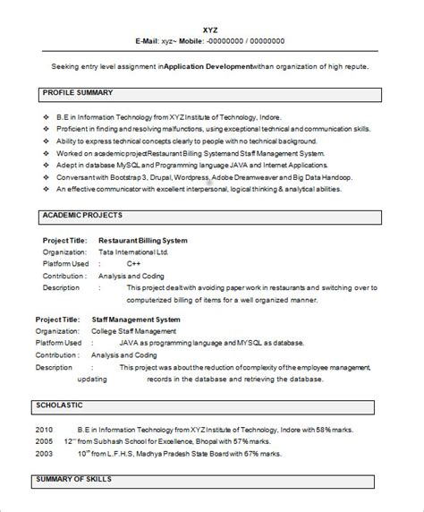 It Fresher Resume Format by Resume Sles For Freshers Template Business