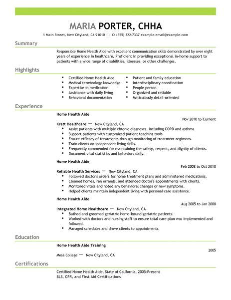 best home health aide resume exle livecareer