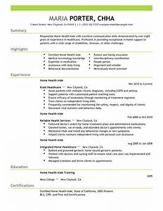 best home health aide resume example livecareer With health care aide resume