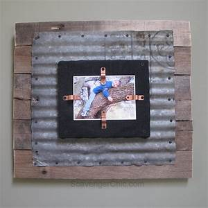 Corrugated Tin and Pallet Wood Frame - My Repurposed Life®