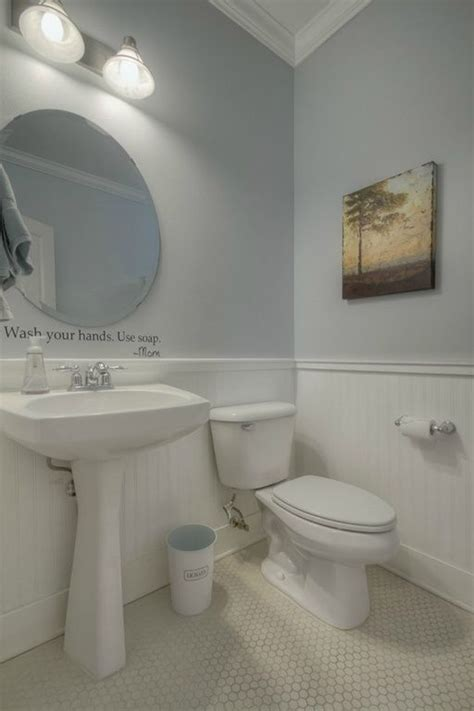 contemporary powder room  wainscoting crown molding