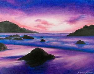Purple ocean sunset oil pastel painting, framed | ART ...