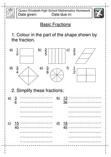 year 7 basic fractions worksheet by jlcaseyuk teaching