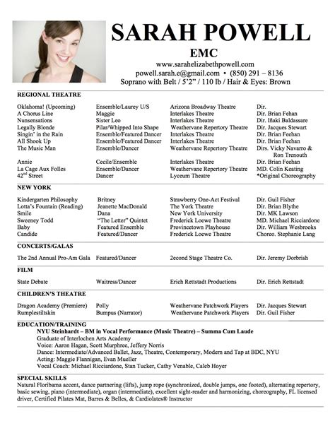 theatre resumes headshot resume elizabeth powell