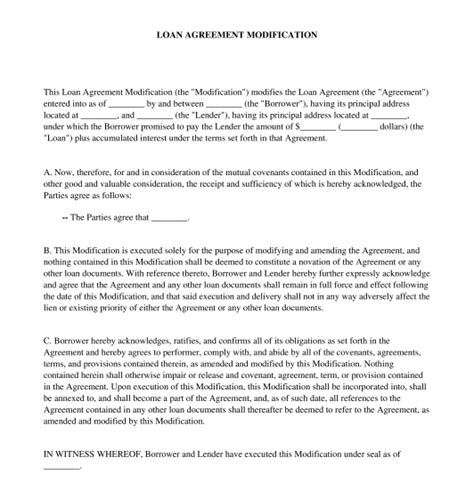 Modification Contract by Loan Agreement Modification Template Word Pdf
