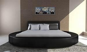Lit Rond But : lit rond en cuir noir 180 cm 2 personnes avec matelas ~ Teatrodelosmanantiales.com Idées de Décoration