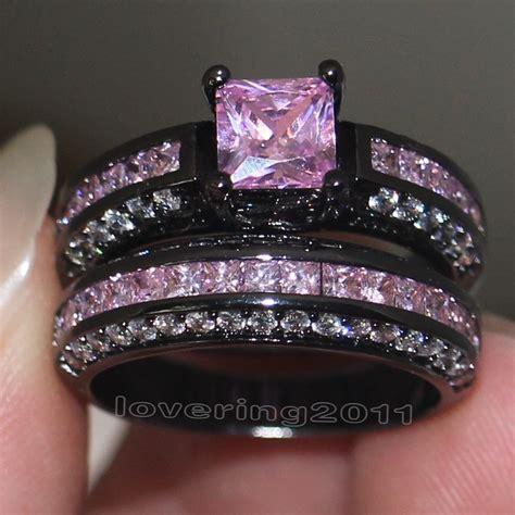 black wedding ring set wieck brand design pink sapphire simulated 10kt black gold filled engagement