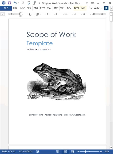 scope  work template ms wordexcel templates forms