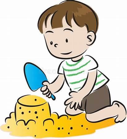 Build Sandcastles Cartoon Sabbia Configurazione Castelli Children