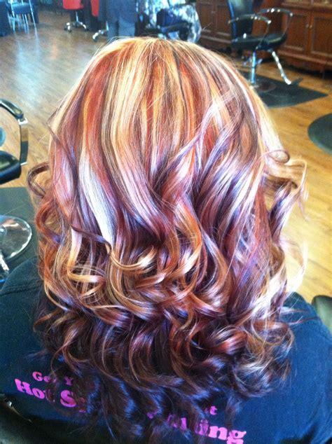 copper blonde  purple hair nails  hair pinterest
