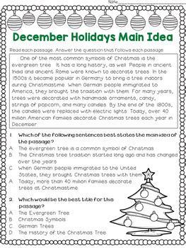 main idea   title worksheets december holidays