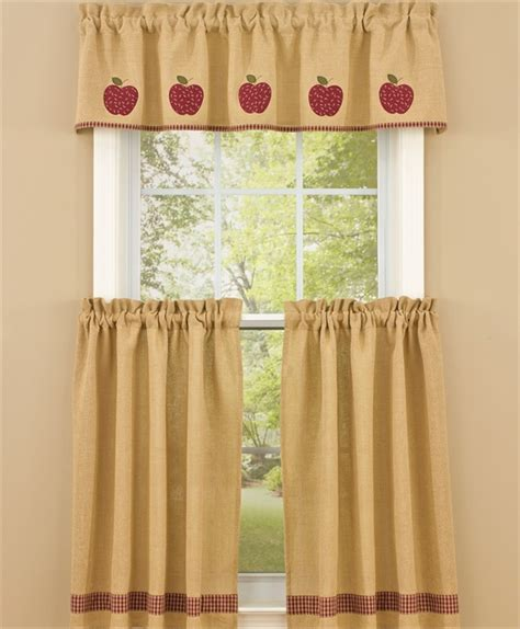 lined burlap curtains burlap apple lined curtain valance 58 quot x 14 quot