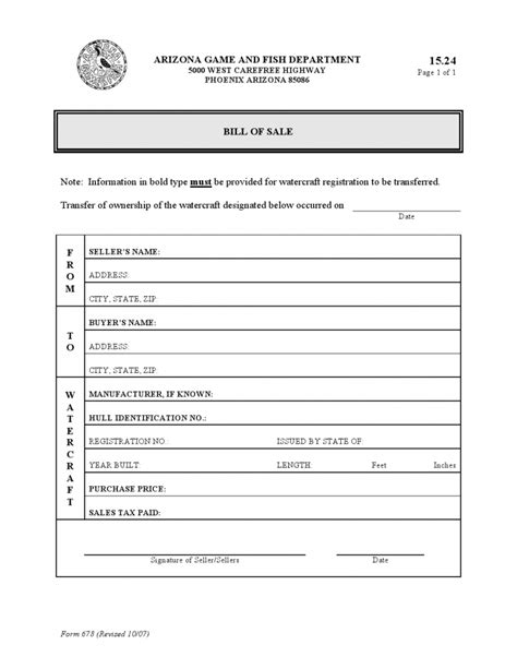 Boat Sales Tax By State by Free Arizona Watercraft Bill Of Sale Form Pdf