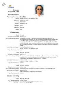 It Professional Resume Templates Europass Cv 28 09 2012 Tufan