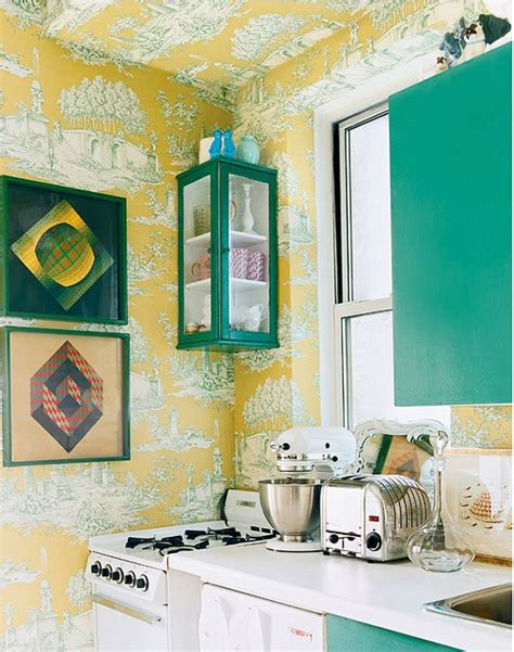 cheerful summer interiors  green  yellow kitchen