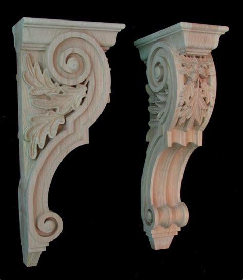 Wood Carved Corbel  Oak Leaf Pair  Snickra Pinterest
