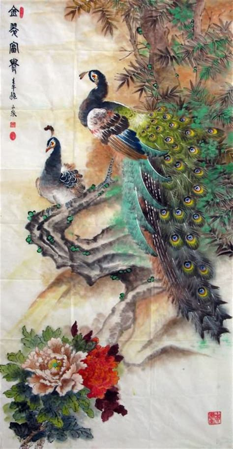 chinese peacock peahen painting peafowl  cm