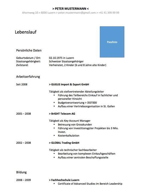 Cv Vorlage by Typisch Cv Muster Englisch Lebenslauf In Englisch