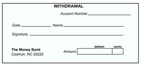 blank withdrawal slip money basics managing a checking account