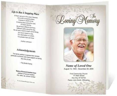 Funeral Program Template 21 Free Free Funeral Program Template Word Excel Formats