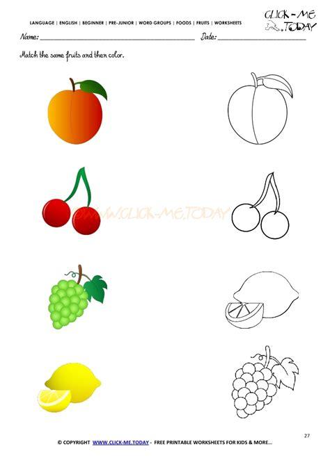fruit matching worksheet for preschool fruit best free