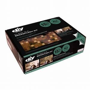 Diy network peel stick multi grain glass tile backsplah for Easy kitchen backsplash kits