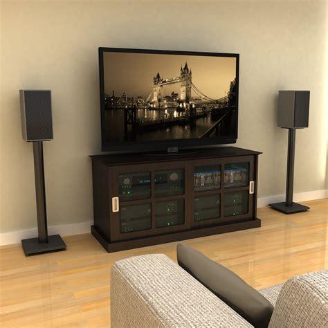 Bookshelf Speaker Setup - adjustable bookshelf speaker stand in black