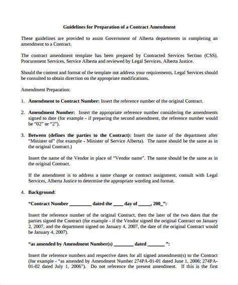 contract amendment templates sample templates