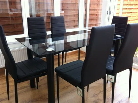 Stunning Glass Dining Table Set And With 4 Or 6 Faux