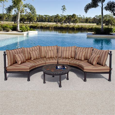 semi circle patio furniture cover captiva outdoor patio half sofa with table
