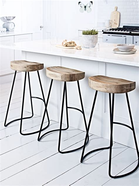 Wooden Island Stools by Weathered Oak Metal Stool Rhys Stool Stools For