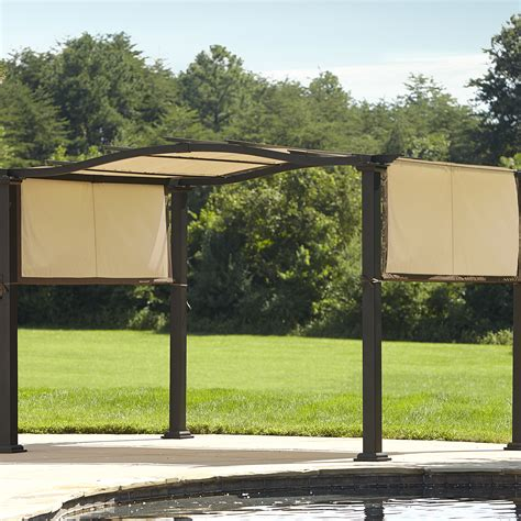 essential garden curved pergola with canopy limited availability outdoor living gazebos