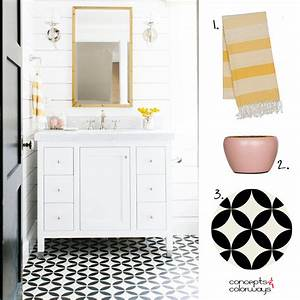a black and white bathroom with pink and yellow accents With black and white bathroom accent color