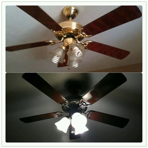 painting ceiling fan blades got rid of ugly gold 70 39 s ceiling fan 8 can of rustoleum