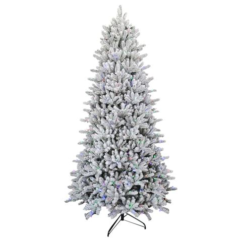 sterling nine foot flocked led trees 9 ft pre lit led flocked balsam wrgb artificial tree 3270111f ilpho the home depot