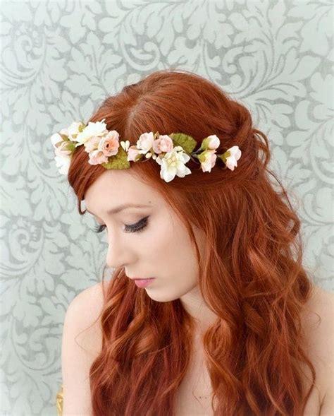 boho rose crown pink  ivory floral headband bridal