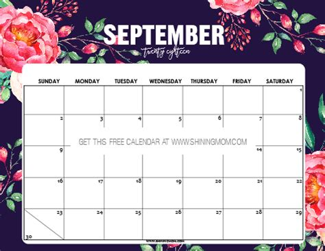 printable september  calendar  planners
