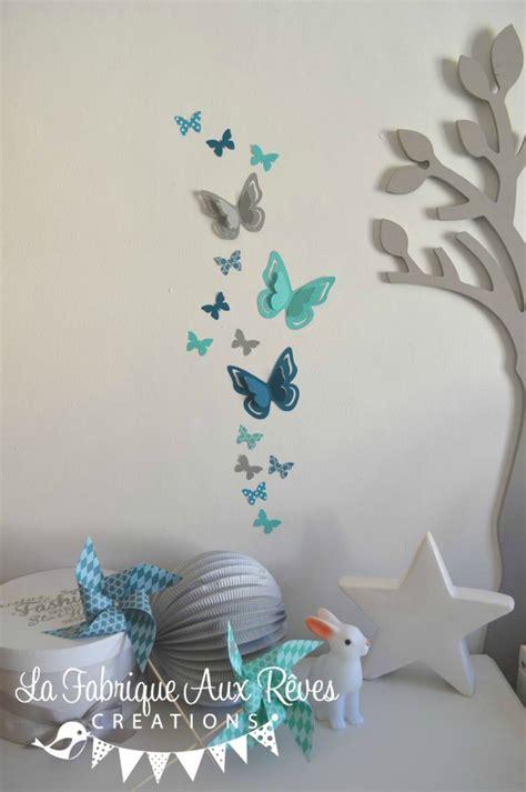 chambre bleu p騁 stickers papillons gris turquoise caraïbe pétrole blanc bleu canard décoration chambre enfant bébé turquoise gris blanc