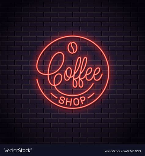 Vector realistic isolated neon sign of coffee on a wall seamless pattern for template website decoration and wallpaper covering on. Coffee neon logo coffee shop neon sign Royalty Free Vector