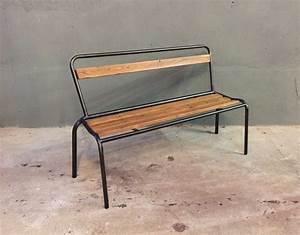 Banc Metal Bois : ancien banc d 39 cole bois et m tal ~ Teatrodelosmanantiales.com Idées de Décoration