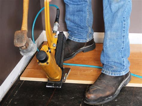 hardwood flooring gun how to install prefinished solid hardwood flooring how tos diy