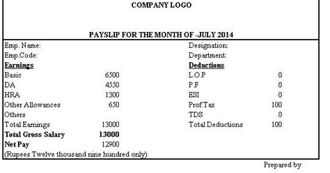 simple salary slip format  deductions