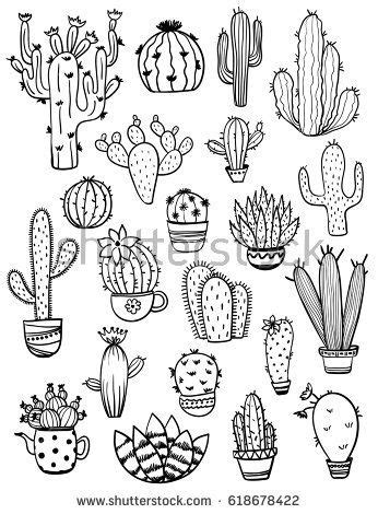 set  isolated black sketch cactus  succulent icons