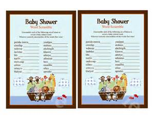 noah ark baby shower noah 39 s ark animal pairs baby shower word scramble 5x7